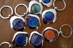 Hand made dichroic glass key rings