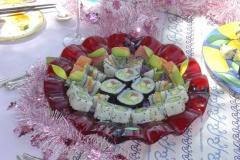 Sushi celebration in handmade platter
